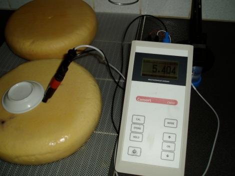 pH in de kern van kaas met AD water