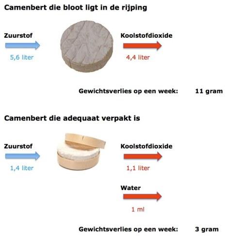 Gewichtsverliezen bij onverpakte en verpakte camenbert