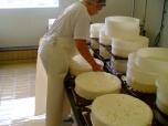 Het keren van de kaas tijdens het uitlekproces